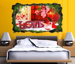 3d wandtattoo liebe blumen blume rot text schlafzimmer vintage selbstklebend wandbild wandsticker wohnzimmer wand aufkleber 11o714