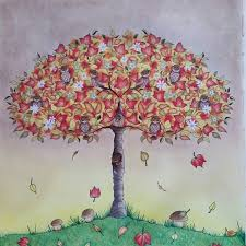 Secretgarden Coloring Coloringbook Adultcoloring Prismacolor Antistress Tree Fall