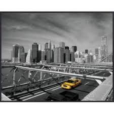 reproduction encadré new york taxi jaune sur bridge