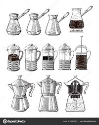 Hand Drawn Illustration Set Of Coffee Preparation Pour Over Brewer Kettle French Press Moka