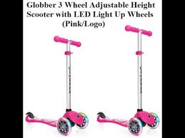 Globber 3 Wheel Adjustable Height Scooter With LED Light Up Wheels Pink Logo