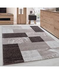 teppich modern designer wohnzimmer geometrisch kariert muster braun beige creme
