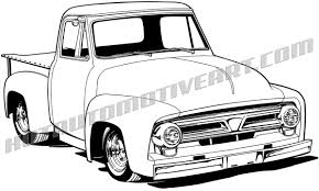 1956 Ford Pickup Truck Clip Art, Buy Two Images, Get One Image Free