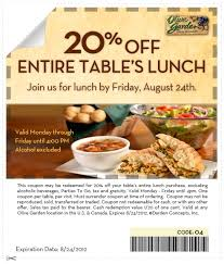 Olive Garden  OFF Entire Table s Lunch Printable Coupon