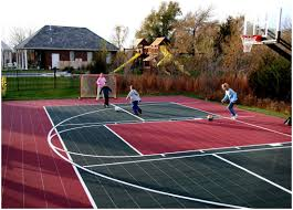 Backyards: Splendid Backyard Basketball Court. Backyard Basketball ... Multisport Backyard Court System Synlawn Photo Gallery Basketball Surfaces Las Vegas Nv Bench At Base Of Court Outside Transformation In The Name Sketball How To Make A Diy Triyaecom Asphalt In Various Design Home Southern California Dimeions Design And Ideas House Bar And Grill College Park Half With Hill