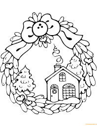 Gingerbread House Christmas Wreath Coloring Page