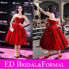 Katy Perry Dress Velvet Red Vintage Ball Gown Celebrity Dresses Cocktail Part Of Me 3D