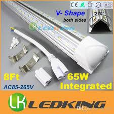 integrated t8 led v shape both sides bulbs 65w 8ft 2400mm for