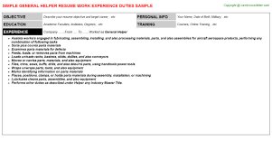 General Helper Free Career Templates Downloads