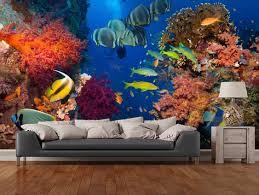 benutzerdefinierte leben fisch tapete korallen und fische 3d tapeten wandbilder für wohnzimmer schlafzimmer küche wand wasserdichte vinyltapeten