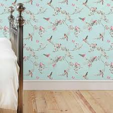 Dunelm Beautiful Birds Floral Duck Egg Green Wallpaper Colorful BirdsBedroom DecorGirls