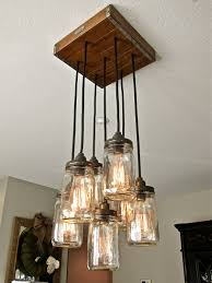 Traditional Living Room Ideas With Rustic Unique Pendant Lights Fixture Clear Mason Glass Jar Lamp