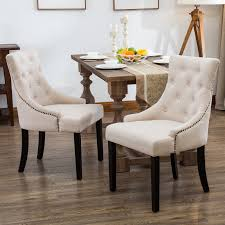 Set Of 2 Fabric Dining Chairs Elegant Button Tufted Beige Pattern ...