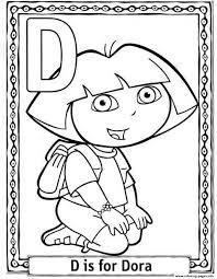D For Dora Cartoon Printable Alphabet Scab2 Coloring Pages