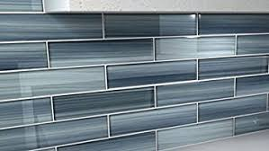 blue gentle grey glass tile for kitchen