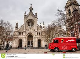 St. Catherine`s Church And The Vintage Red Food Truck In A Freezing ...
