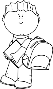 Black and White Boy Carrying Book to School Clip Art Black and