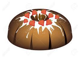 strawberry bundt kuchen oder traditionellen großen runden banane kuchen mit loch innen und spiegel glasur coating für urlaub dessert isoliert auf
