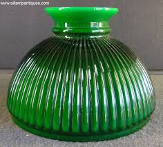 Antique Aladdin Electric Lamps by Green Ribbed Glass Lamp Shade Oil Lamp Antiques