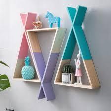 holzwand regal hängende dreieck bücherregal für wohnzimmer haus kinder gesche 23x39cm rosa geometrisch nordischer stil bücherregal hängendes regal
