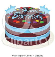 Blue And Chocolate Cake With Happy Birthday Text And Stars