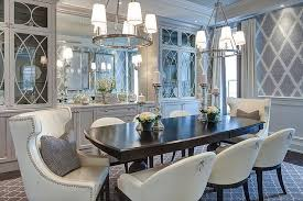 Gray Dining Room With Glass Front China Cabinets