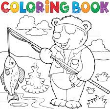 Coloring Book Bear Fisherman Theme 1 Royalty Free Stock Vector Art