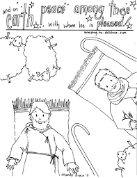 Christmas Angels Shepherds Coloring Page