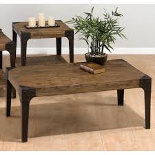 furniture vintage rectangle solid wood coffee table and side