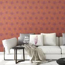 eleganter tapeten klassiker orange pompadour dahlien mit edlen blüten angepasst an farrow and wandfarben