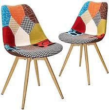 vadim stuhl patchwork für esszimmer 2 stück stuhl modern mit rückenlehne aus stoff leinen beine metall stil holz bunt