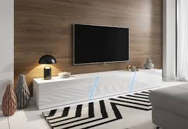 tv lowboard weiß hochglanz lack hängend stehend board space mit led 240 cm