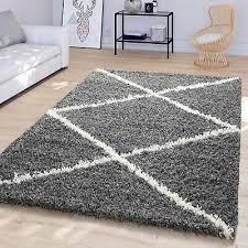 wohnzimmer teppich hochflor modernes skandi rauten design