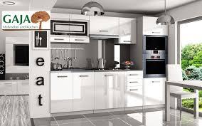 küche 240cm weiß hochglanz mit hochschrank für ofen