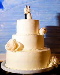 Classic White Wedding Cake with Traditional Bride and Groom Cake Topper