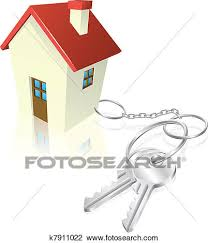 Clipart Of House Attached To Keys As Keyring K7911022