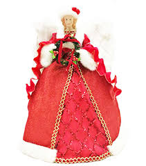 Makeru0027s Holiday Christmas 16u0027u0027 Traditional Angel Tree Topper Red