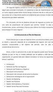 PLAN DE NEGOCIOS PARA CONCESIONARIA TOYOTA DE LA CIUDAD DE CORDOBA PDF