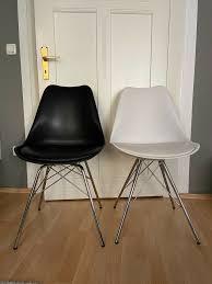 stuhl schalenstuhl esszimmer stühle schwarz weiß skandinavisch