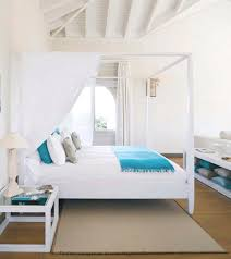 White Turquoise Bedroom Canopy Bed Beach House