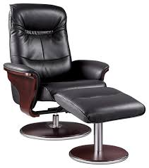Milano Leather Swivel Recliner and Ottoman Modern Recliner