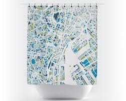 Tokyo Map Shower Curtain japan Shower Curtain Chroma Series