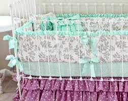 Mint Green Crib Bedding by Purple Crib Bedding Mint And Purple Baby Bedding Set