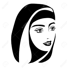 Monochrome Portrait A Muslim Woman In A Headscarf A White