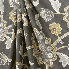 Jacobean Floral Design Curtains by Ankara Noir Grey Jacobean Floral Fabric Traditional Drapery