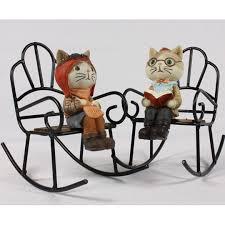 Cute Travel Cat Figurine On Rocking Chair, Car Accessories ...