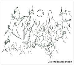 A Monkey Village In The Mountains Coloring Page