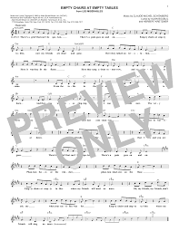 Empty Chairs At Empty Tables Chords by Sheet Music Digital Files To Print Licensed Claude Michel