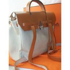 sac à hermès herbag sac à dos blanc toile enduite réf a24870