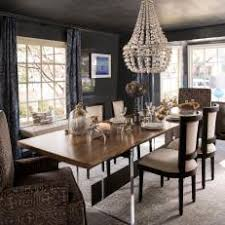 Transitional Gray Dining Room Is Dramatic Elegant